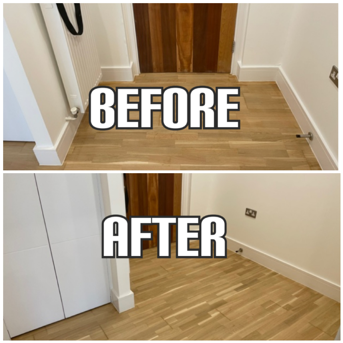 before and after Floor installation and refinishing in a hallway of apartment, Enfield