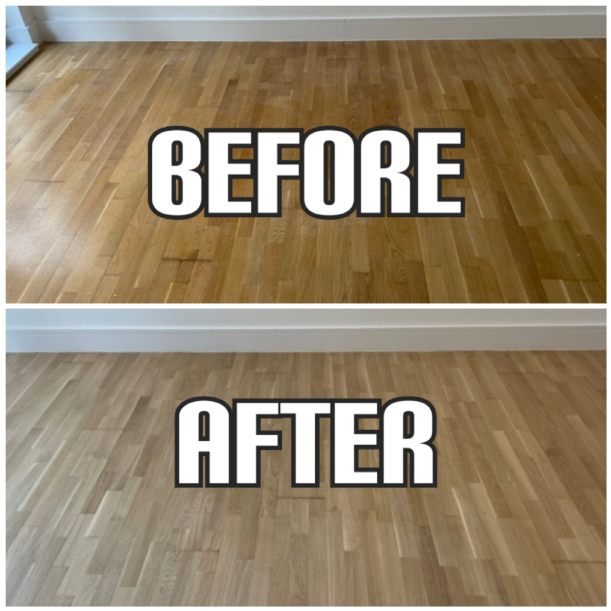 before and after Floor restoration of oak solid wood and matt finishing in a house, Enfield
