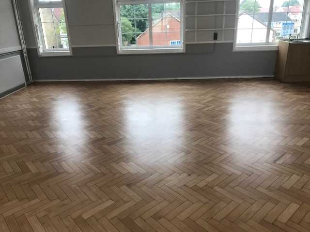 after floor repair and sanding of school, croydon