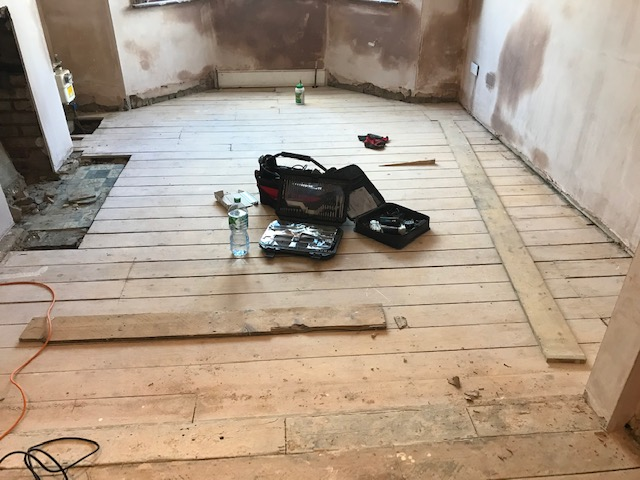 Pine floorboards restoration process, Tottenham