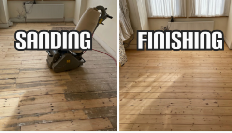 before and after floor restoration, reclaiming, gap filling and sanding in a house, Southwark