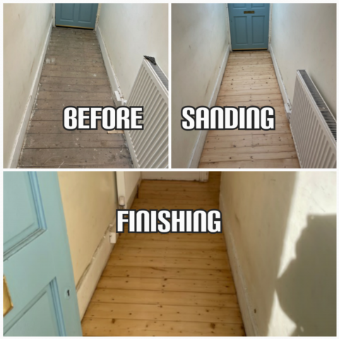 before and after Floor restoration of hardwood floorboards in a hallway, Southwark