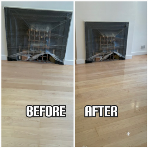 before and after Floor restoration of maple wood floorboards and lacquer finishing, Chelsea