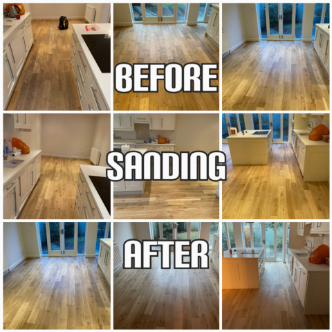 before and after floor sanding and finishing of solid oak in a luxury house, Southwark