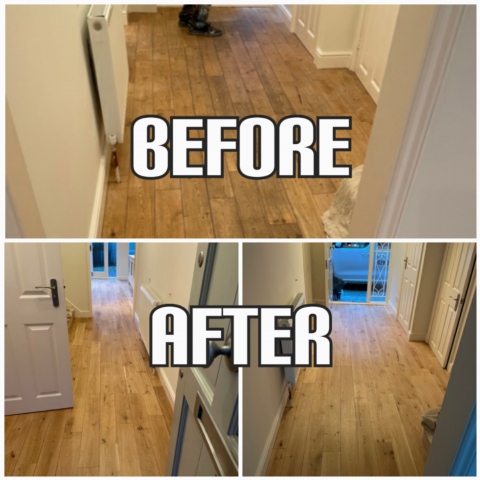 before and afrer floor sanding of engineered wood in a hallway, Southwark