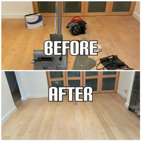 before and after Floor sanding of maple floorboards and clear satin fishing in a bedroom, Chelsea