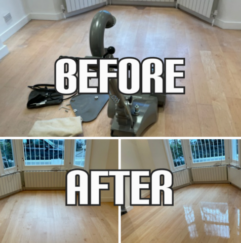 before and after Floor sanding of solid maple floorbards and finishing in a living room, Chelsea