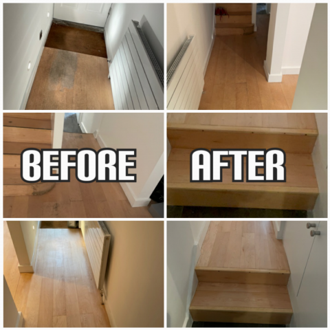 example of maple stair sanding, repair, and satin lacquer finishing in a house, Chelsea