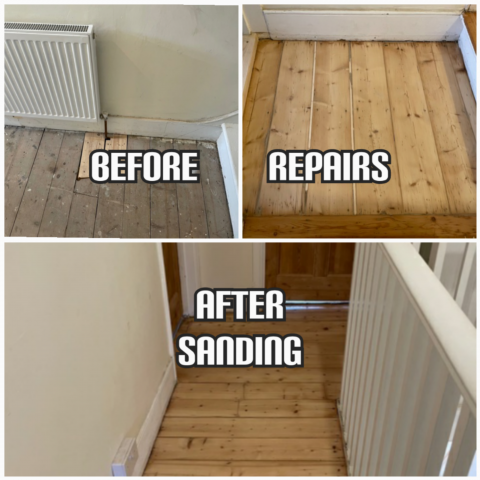 before and after Stairs sanding and repair in a house, Southwark