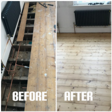 Pine floorboards sanding and repair services, Tottenham