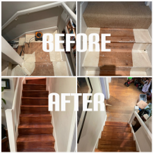 example of stairs sanding and staining with medium oak in Tottenham