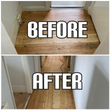 before and after hallway repair and gap filling in a house, Croydon
