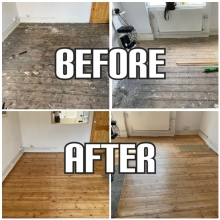 before and after hardwood floor restoration and reclaiming in Fulham