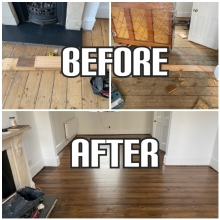 before and after flooring restoration in Highbury