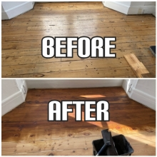 before and after hardwood sanding and dark-oak staining in Lewisham