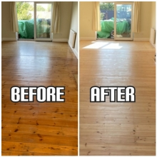 before and after floor sanding and staining in Hackney
