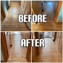 before and after hallway floor sanding and repairs in Haringey