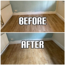before and after floor installation and refinishing of solid wood floorboards in an apartment, Kensington