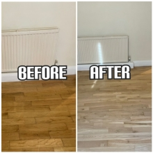 before and after floor refinishing and polishing in an apartment, Kensington