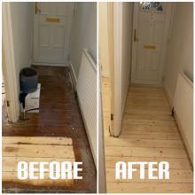 example of floor restoration of a hallway in a house, Heringey