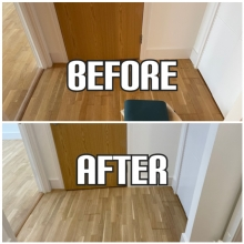 before and after floor restoration, gap filling, and polishing in a house, Enfield