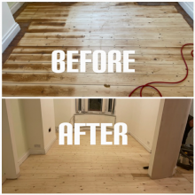 example of floor sanding and finishing of a living room in apartment, Haringey