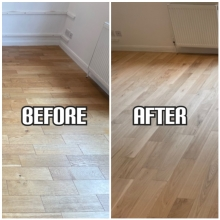 before and after Floor sanding of solid wood floorboards and finishing with satin lacquer, Enfield