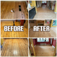 before and after Floor sanding, floorboards reclaiming, and gap filling in a house, King's Cross