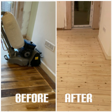example of flooring repair and sanding in a bedroom of apartment, Heringway
