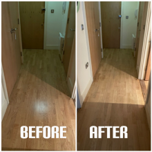 example of light sanding and polishing in a hallway of apartment, Seven Sisters