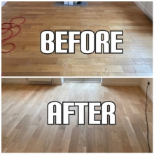 before and after Light sanding, staining, and finishing of solid wood flooring, Enfield