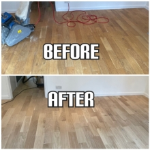 before and after Solid wood floor restoration and gap filling in a house, Enfield